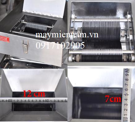 Máy cắt thịt bò jz gồm 40 lưỡi dao đan vào nhau - tương ứng 1 lần cắt được 40 lát thịt đều nhau