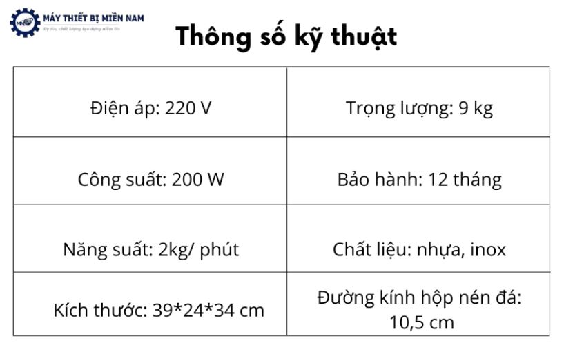 Thông số kỹ thuật máy bào đá ET-200